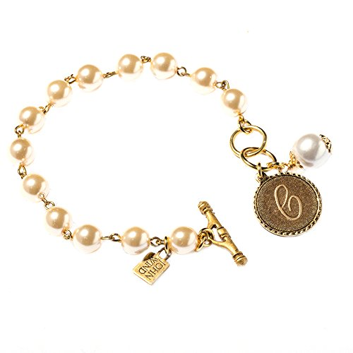 John Wind Mini Coin Gold-Toned Initial C On Pearl Bracelet, ()
