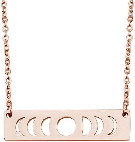 KUIYAI Moon Phase Necklace Bar Pendant Triple Goddess Jewelry
