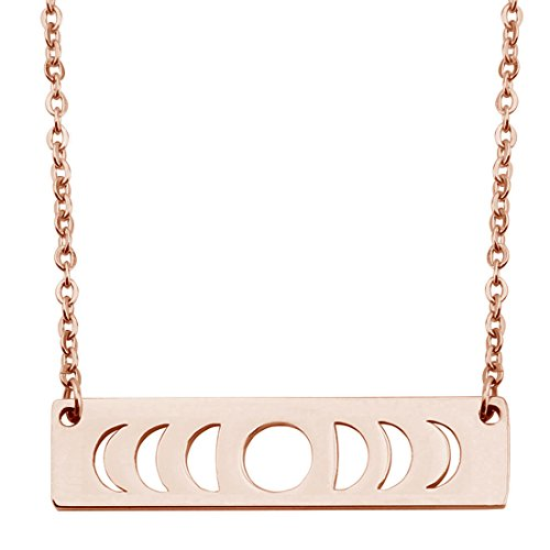 KUIYAI Moon Phase Necklace Bar Pendant Triple Goddess Jewelry (Rose Gold)