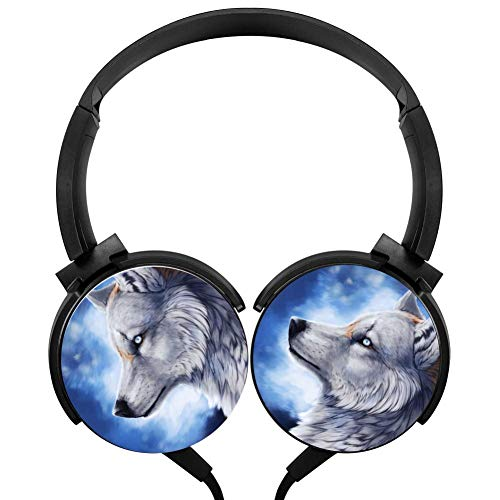 CTWUVS ADPR Cool Blue Galaxy Wolf Wired Headphones Headsets Foldable Over Ear for Kids or Adults Black