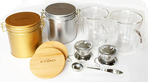 Gift Set for Loose Leaf Tea with 2 Double Walled Glass Tea Mugs with Bamboo Lids, Airtight Canisters, Stainless Steel Tea Infuser & Measuring Spoon