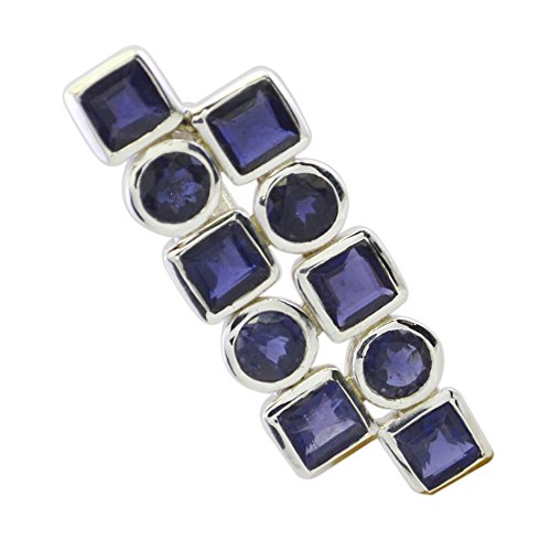 Blue Real Iolite Pendant 925 Silver For Women Astrological Necklace Round, Square Shape Stone Locket Gift