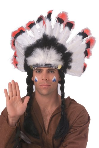 Indian Costumes Man (Rubie's Costume Deluxe Native American Headdress, White, One Size)