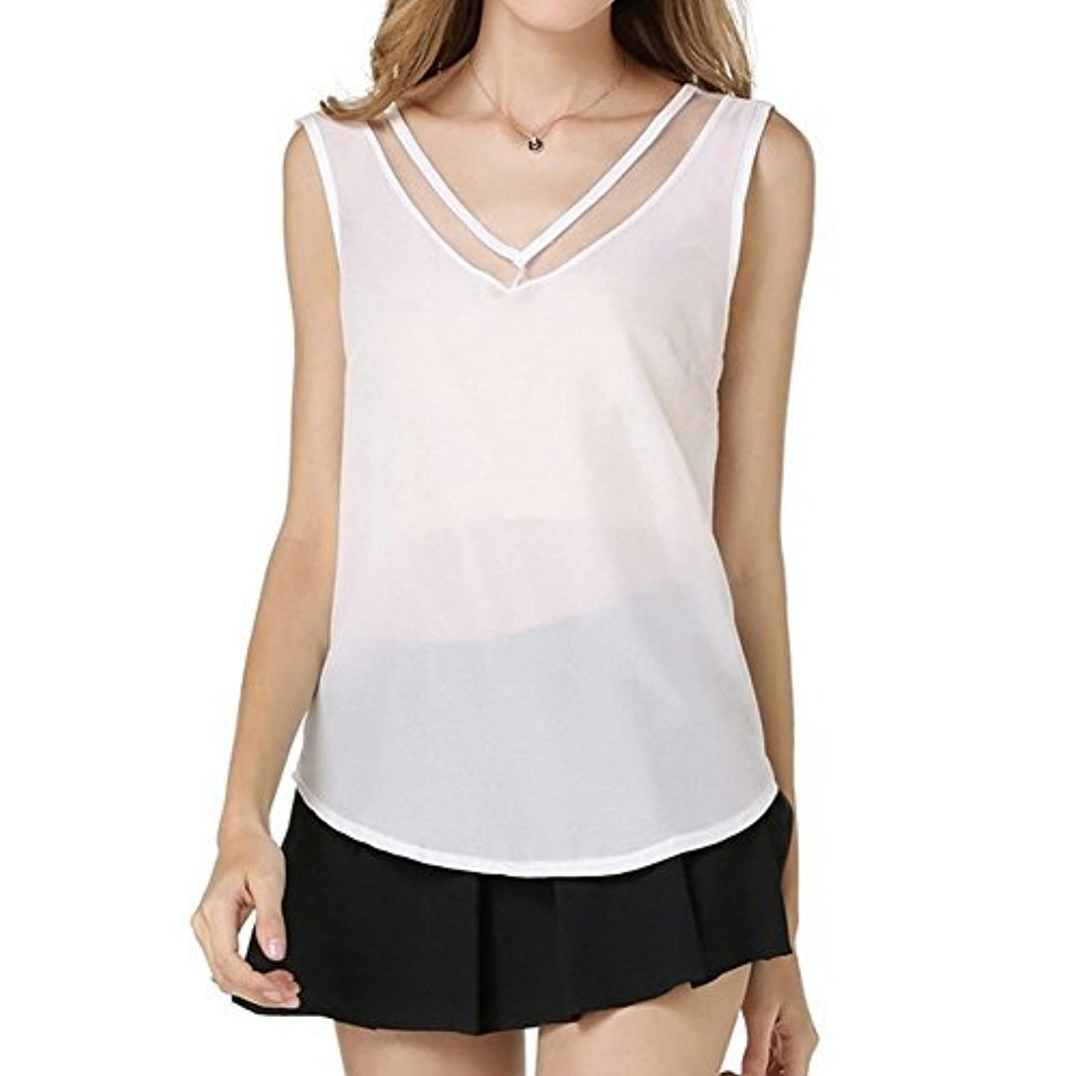 Calyfer Womens Chiffon Sleeveless V Neck Solid Shirt Blouse Tops White Small