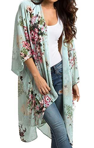 (casuress Women's Cardigan-Sheer Kimono Loose Summer Floral Print Cover Ups (Medium, Green 2))