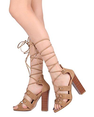 Sandalo Con Tacco Blazer Donna Alrisco - Sandalo Gladiator Con Cinturino Alla Caviglia - Stringato Tacco Grosso - Hb42 By Elegant Collection Similpelle Taupe