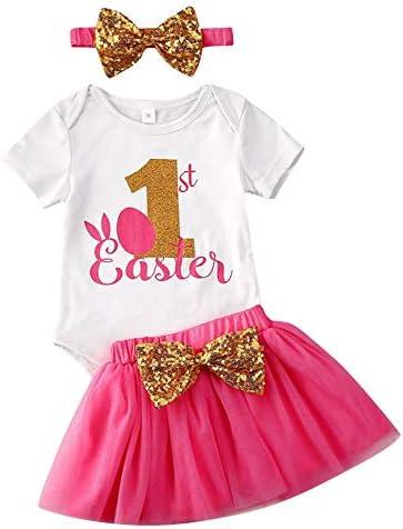 Babykleidung Set Ostern Kaninchen Baby Mädchen Kleidung Outfit Ostergeschenke für Kinder Kurzarm Body + Tüllrock Tütü Rock Neugeborene Weiche Babyset