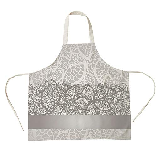 3D Printed Cotton Linen Big Pocket Apron,Silver,Lace Inspired Flower Motifs Bridal Composition Stylized Leaves Wedding Theme Decorative,Gray Silver White,for Cooking Baking Gardening -