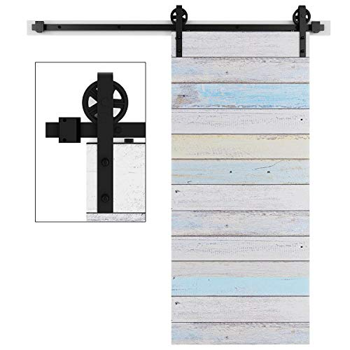EaseLife 6 FT Heavy Duty Big Wheel Sliding Barn Door Hardware Track Kit - Ultra Hard Sturdy | Slide Smooth Quiet | Easy Install | Fit 30