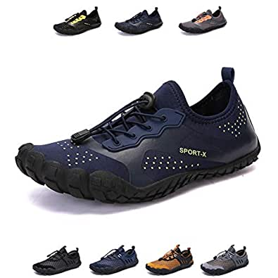 YUHUAWYH Mens Womens Water Shoes Quick Dry Barefoot Aqua Shoes for Water Sports Fishing Beach Hiking Outdoor Exercise Blue Size: 6.5 Women/5 Men