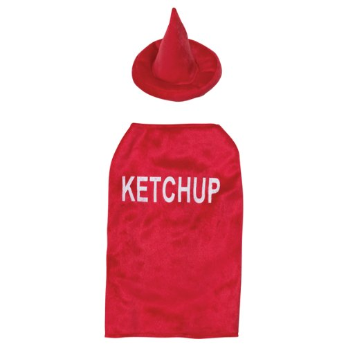 Casual Canine Polyester 16-Inch Ketchup Dog Costume, Medium, Red