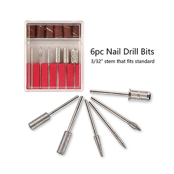 Dr.Nail Professional Nail Drill 30000RPM Electric Nail Machine for Acrylic Nail Drills Nail Art Manicure Grinder Machine Gel Nails Polisher Nail File 6