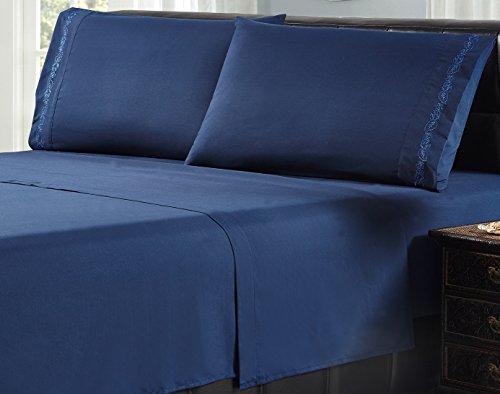 Livingston Home 1605MFS-LF-DB-Q Leaf Microfiber Sheet Set, Dk-Blue, Dark Blue, - Macy In Jersey New