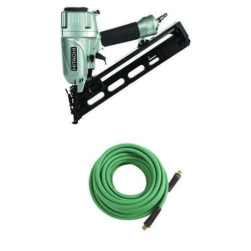 Hitachi NT65MA4 1-1/4 Inch to 2-1/2 Inch 15-Gauge Angled Finish Nailer with Air Duster Hitachi 115320 Professional Grade Hybrid Air Hose, 1/4 inch x 50