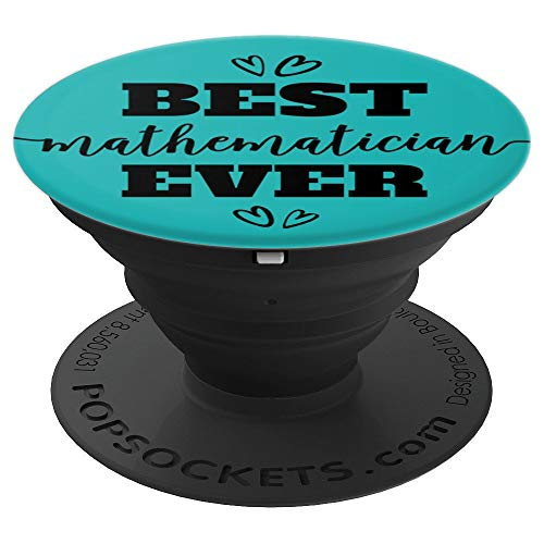 Best Mathematician Ever Script on Teal PACV036d - PopSockets Grip and Stand for Phones and Tablets
