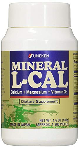 Umeken Mineral L Cal (Small Bottle) - Calcium Enriched with Magnesium, Vitamin D3 and Minerals. Water Soluble and Fast Absorbing. Made in Japan.
