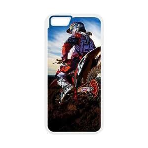 iPhone 6 más la caja de 5,5 pulgadas Estuche Teléfono Blanco Motocross Diseño duro T4I6QR