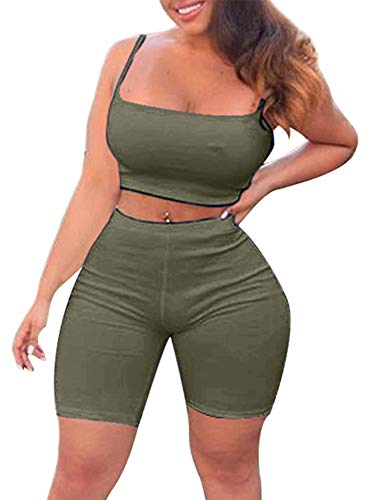 (TOB Women's Bodycon 2 Pieces Outfit Spaghetti Strap Crop Tank Top Shorts Pants Olive)