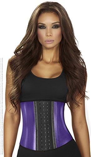 Ann Chery 2046 Metallic Edition 3Hooks Women Latex Cincher Workout Waist Trainer (Purple, M)