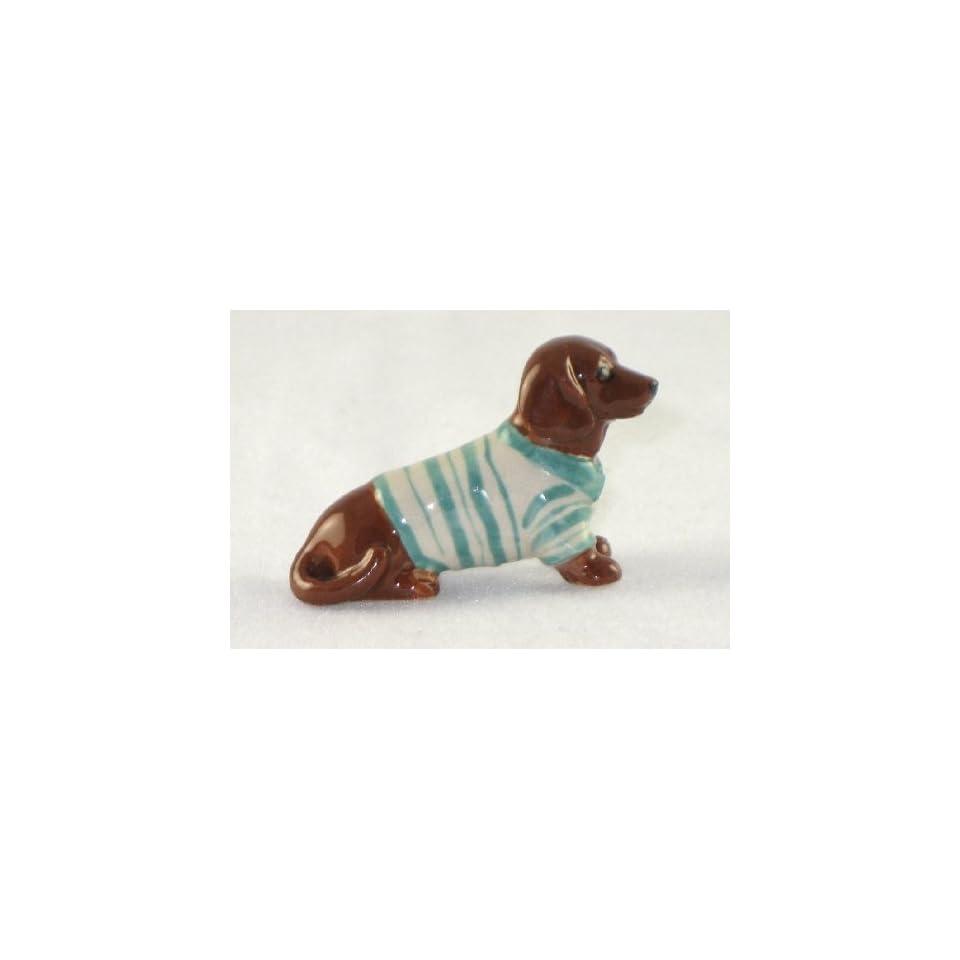 DACHSHUND Red Dog n Sea Green Striped Sweater SUPER MINIATURE New Porcelain Figurine KLIMA L886F