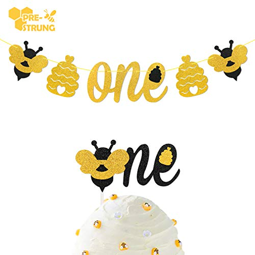 Bumble Bee Glitter One Banner with 1 Cake Topper for Baby Girl & Boy 1st Birthday Party - Bumble 1 Bee
