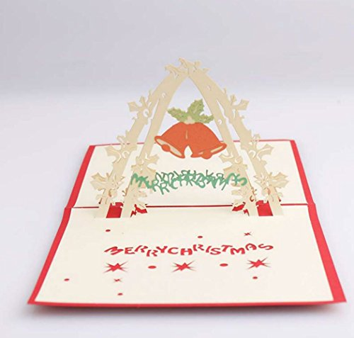 3D pop-up Merry Christmas Bell Greeting Cards Wedding & Baby Shower Greeting Card (96) by Cute rabbit