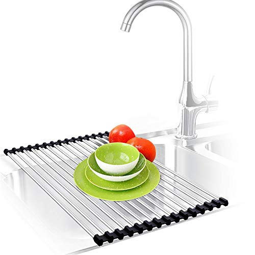 Urwanti Dish Drying Rack Over The Sink Roll Up Stainless Steel Silicone Coated Multipurpose Foldable Kitchen Dish Drainer Rack (Black) ()