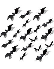 LinTimes Vleermuisdecoratie voor Halloween, 3D-vleermuis, muurtattoo sticker, scatter decoratie geschikt voor bar, familie, party horror decoratie, 80 stuks