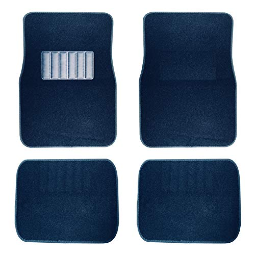 New Universal Blue Carpet Car Floor Mats 4 Pcs Set for Cars Trucks SUVS with Blue Heel Pad -Front and Rear Mats