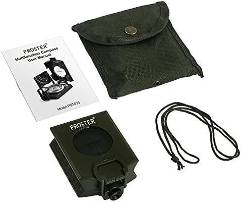 Proster Brújula Militar Impermeable Profesional, Brújula Metal para Apuntar Clinómetro de con Bolsa de Transporte para Camping, Caza, Senderismo, ...