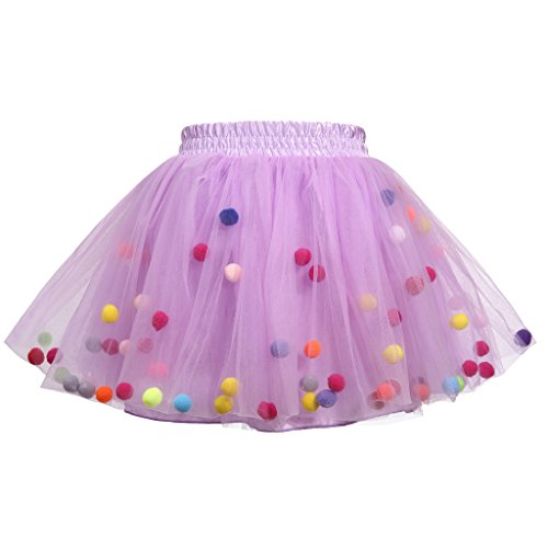 Meeyou Little Girls' 3 Layers Tutu Skirt with 3D Pom Pom Puff Balls(3-4T, Purple)