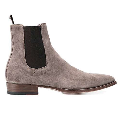 jinfu Mens Suede Gary High Top Winter Warm Chelsea Ankle Boots Pointed Toe Shoes (US 10) 6f6xtO