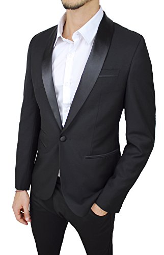 Sartoriale Slim Raso Giacca Elegante Class Nero Cerimonia Uomo Lucido Fit HE6wqO7xw