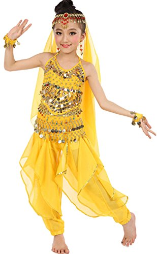 [Astage Girls Belly Dance Sets All accessories Yellow L(Fits 8-10 Years)] (Cute Costumes For Dance)