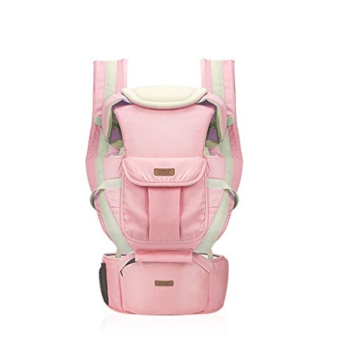 Four Seasons Breathable Baby Belt Waist Stool, Portable Removable Seat, Adjustable Stereo Backpack, Baby Carriage, Load-Bearing 20kg (Color : Pink) by Zhengfangfang