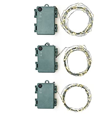 LampLust Set of 3 Warm White Fairy Lights, Green Bendable Wire, 12 ft. Strands, 60 LEDs, Battery Operated, Water Resistant, Indoor/Outdoor Use