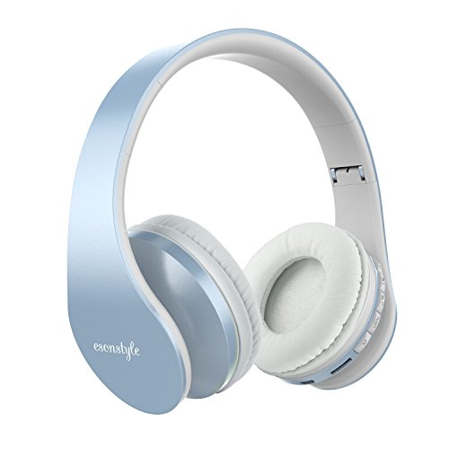 Bluetooth Headphones Over Ear, Esonstyle Hi-Fi Stereo Wireless Foldable Headset w/ Built-in Mic and Wired Mode for iphone 8 iphone X and others (light blue)