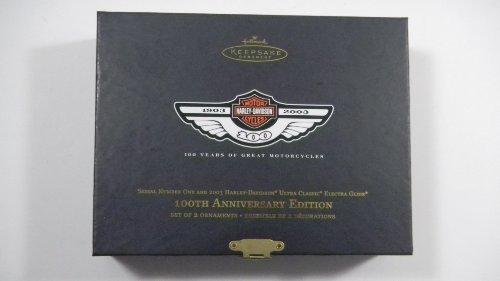- Hallmark Keepsake Ornament 2003 Harley Davidson 100th Anniversary Set of 2 Motorcycles