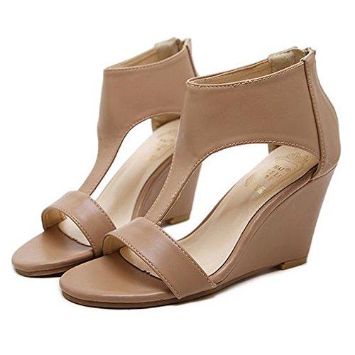 RUGAI-UE Zapatos de tacón bajo, sandalias de un solo zapato, pendientes de moda europeas y americanas y zapatos de tacón alto estilo Roma. Apricot color
