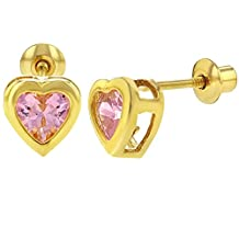 18k Yellow Gold Plated Heart Bezel Hot Pink Crystal Screw Back Stud Children's Earrings