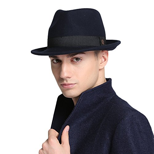 VEC Brand Men's Manhattan Fedora Hat Soft Comfortable Classical Gentlman Cap Juzz Hat (Navy Blue)