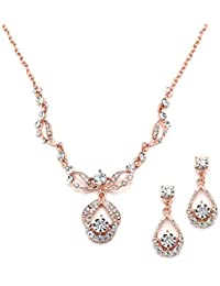 75ebb9ff7a3c 14K Rose Gold Vintage Crystal Necklace and Earrings Jewelry Set for Prom
