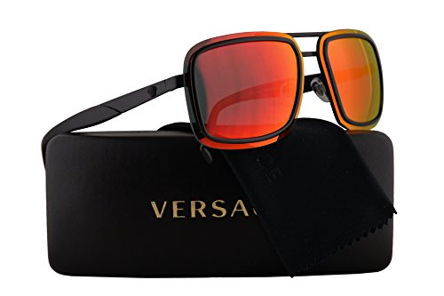 Versace VE2183 Sunglasses Matte Black w/Red Multilayer 63mm Lens 12616Q VE - New Versace Collection Sunglasses