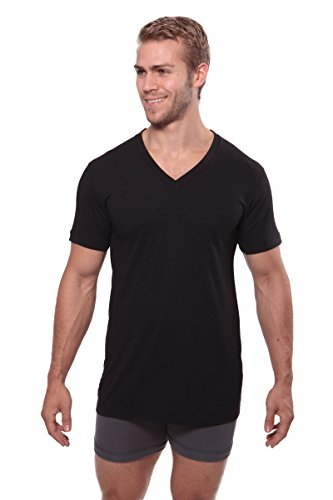 Texere Men's V-Neck Luxury Undershirt (Meio, Black, M)