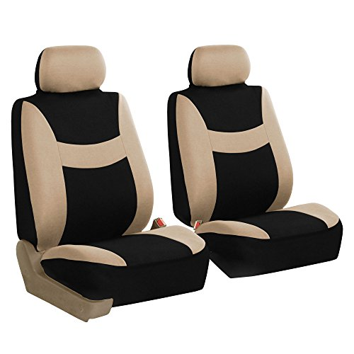 FH GROUP FH-FB030102 Light & Breezy Cloth Seat Cover Set Airbag Ready, Beige / Black Color- Fit Most Car, Truck, Suv, or Van