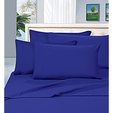 Elegant Comfort 1500 Thread Count Wrinkle & Fade Resistant Egyptian Quality Hypoallergenic Ultra Soft Luxurious 4-Piece Bed Sheet Set, Queen, Royal Blue