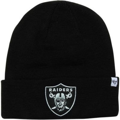 best sneakers 056e5 2b243 Oakland Raiders Black Beanie Hat - NFL Cuffled Knit Toque Cap