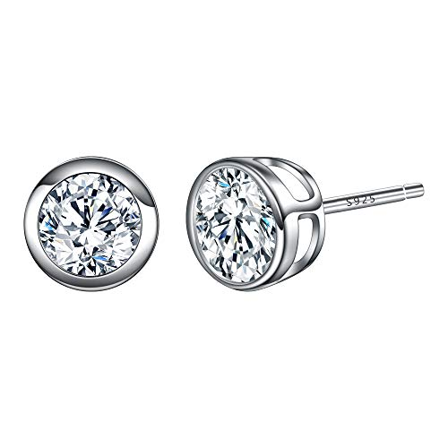 EVER FAITH 925 Sterling Silver Round Cut CZ Simple 4MM Basket Set Stud Earrings - 4 Mm Stud Earrings