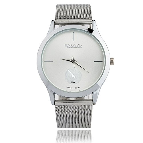 - WoCoo Analog Quartz Wristwatch for Women Mens - Matte Dial Watches with Stainless Steel Mesh Band - Gift for Her/He(Silver)