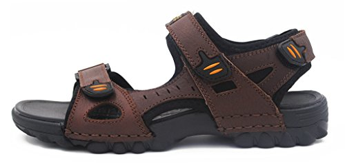 iLoveSIA Mens Leather Sandals Athletic and Outdoor Shoe Deep Brown US Size 6